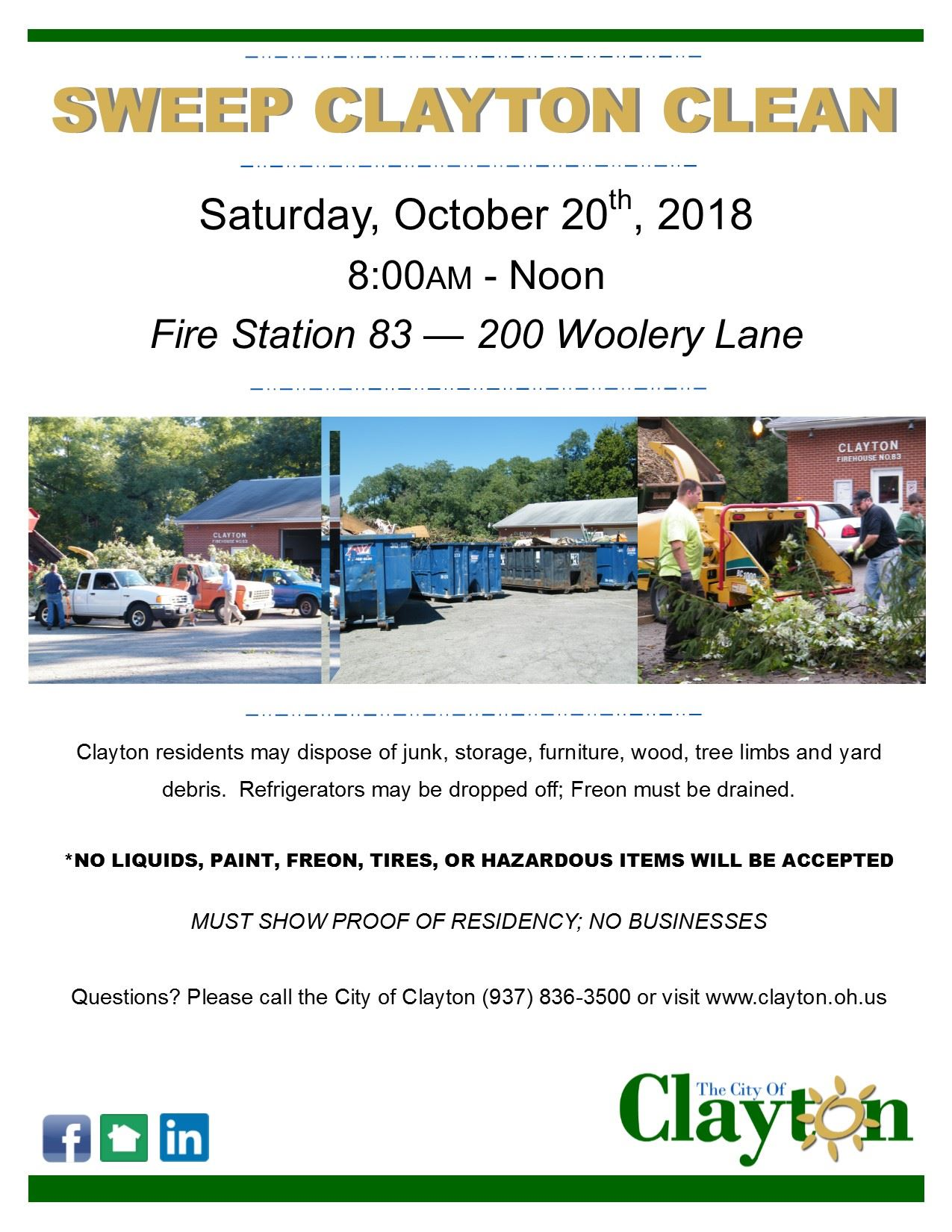 Sweep Clayton Clean Flyer - October 2018