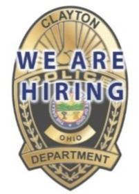 Clayton Police Badge We Are Hiring
